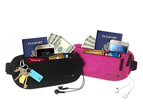 Geldgürtel für Damen & Herren mit RFID-Technologie für höchste Sicherheit. Gürteltasche hält Pass, Karten & Ausweis versteckt. Reiseetui & Hüfttasche Set in Schwarz & Pink ideal für Sport & Reisen