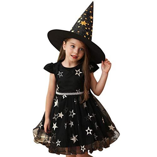 Machen Kinder Hexe Kostüm - Riou Hexenkostüm mit Kaputze Halloween Kostüm Mädchen ärmelloses Fasching Paty Cospaly Kostüm Hexen Kostüm Kleinkind Baby Mädchen Prinzessin Tulle Rock Kleid