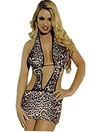 Saphira dessous. Leopard Minikleid mit Strass-Steinen. Halter.