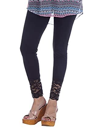 Nakhrali Women's Cotton Slim Fit Ankle Length Lace Leggings(NKL-AL-01, Black, XX-Large)
