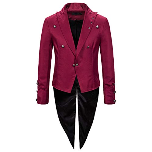 Costume Steampunk Giacche da Uomo Casual Giacche Slim Fit Blazer One Button Suit Cappotto Solid Casual Top per Qualsiasi Evento Formale o Occasione Festa, Matrimonio o Banchetto
