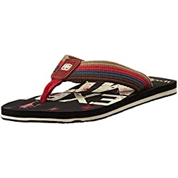 Woodland Men's Black and Beige Flip Flops Thong Sandals - 7 UK/India (41 EU)