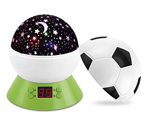 Baby Nachtlicht Star Projektor, Fußball Nachtlicht mit Timer Automatische Abschaltung Lampe, Colorful Star drehbar Projektor Schlaf Schnuller, perfekte Geburtstag Geschenk für Kinder