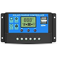 GIARIDE 20A 24V 12V Regulador de Carga Solar Panel Batería PWM Controlador Inteligente Parte USB Pantalla LCD Automático Protección Contra Sobrecarga Compensación Automática de Temperatura
