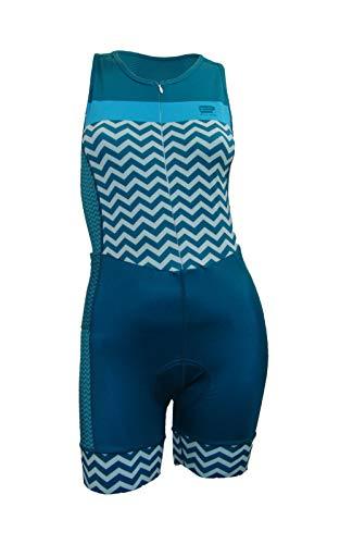 Enjoy Triathlon Premium Tri Anzüge Frauen 2 Gesäßtaschen gepolstert Pro Performance UV-Schutz UPF 30-50 Wicking leicht, hoch atmungsaktiv und langlebig 8232302468, blau, Small