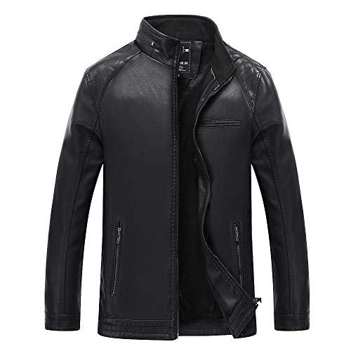 Mode Herbst Winter Casual Tasche Reißverschluss Thermische Lederjacke Top Mantel Kinlene Herenen T-Shirt