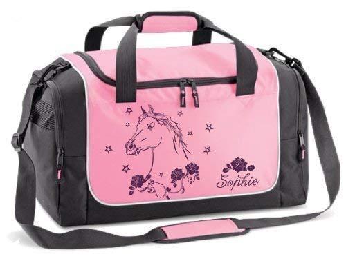 (Mein Zwergenland Sporttasche mit Namen und Wunschmotiv, 38 L, Rosa Sport 21)