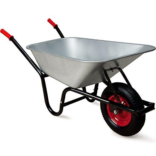 Monzana® Schubkarre 100 Liter ✔ Bauschubkarre Gartenschubkarre ✔ bis 250kg Belastbarkeit ✔ Luftreifen mit Stahlfelge ✔ verzinkt ✔ stabile Ausführung mit Aufliegewanne