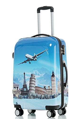 Reisekoffer 2060 Hartschalen Trolley Kofferset in 12 Motiven SET--XL-L--M-- Beutycase (Flug, XL)