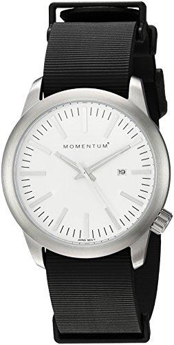 Momentum - Reloj de cuarzo para hombre de acero inoxidable y goma, Color negro (modelo: 1M-SP10W11B)