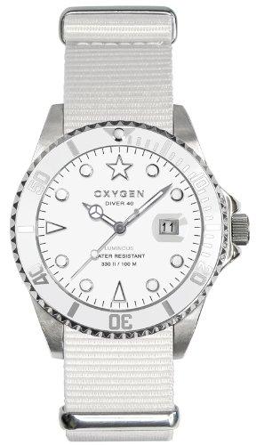 Oxygen EX-D-WHI-40-WH - Reloj analógico de cuarzo unisex, correa de nailon color blanco (agujas luminiscentes)