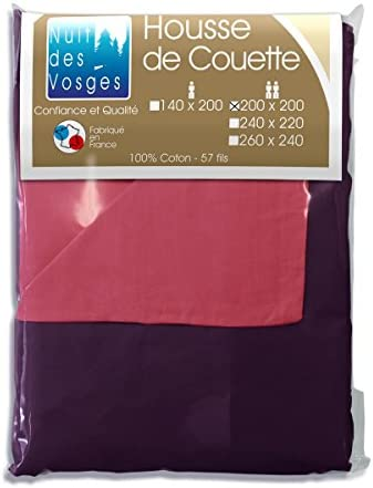 Nuit des Vosges Cotoval Copripiumino Cotone 200 BiColoreeee Reversibile 200 Cotone x 200 cm Cotone Lampone Violine 200 x 200 cm 6e4dd9