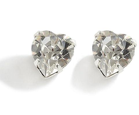 Swarovski Earrings - Heart Diamante Stud Earrings - Ladies Gifts - Crystal Heart Earrings - Silver Plated/Pierced