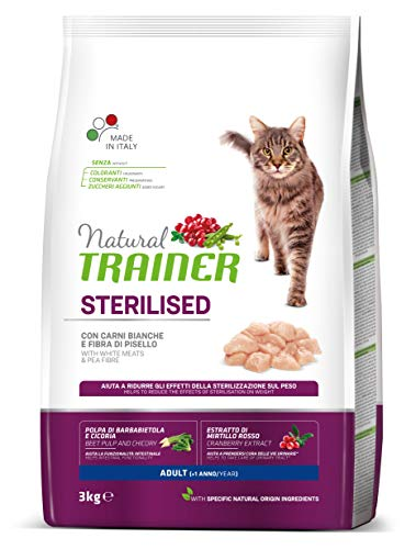 Trainer Natural Cat Sterilised Adult con Carni Bianche e Fibra di Pisello 3 kg - 3000 Gr