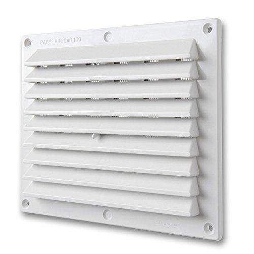 La Ventilazione BDR1714B Griglia di Ventilazione in Plastica Rettangolare da Sovrapporre, Bianco, 175x146 mm