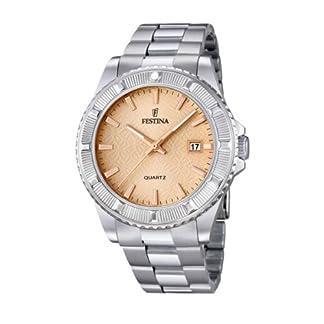 Festina Vendome F16684/2 – Reloj analógico de cuarzo para mujer, correa de acero inoxidable color plateado (alarma)