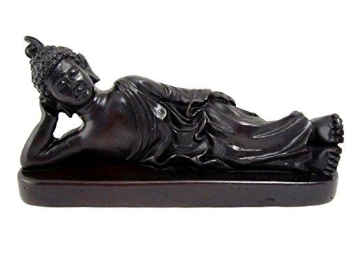 Blue Orchidee liegender Buddha Figur Religiöse Statue aus Kunstharz für Meditation Reichtum Viel Glück Klein 14cm Schwarz (Orchidee-statue)