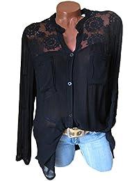 Fräulein Fox Printemps et Automne Femmes Longue Chemises Casual Tops à Manches  Longues Shirts Fashion Dentelle fc025acde4eb
