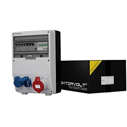 Stromverteiler TD-S/FI 32A 2x230V Drehstromzähler MID geeicht Baustromverteiler Wandverteiler Doktorvolt® 9092
