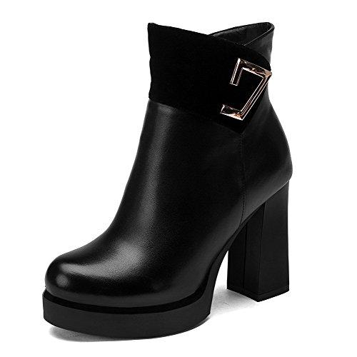 VogueZone009 Damen Hoher Absatz Rein Blend-Materialien Stiefel mit Metalldekoration, Rot, 37