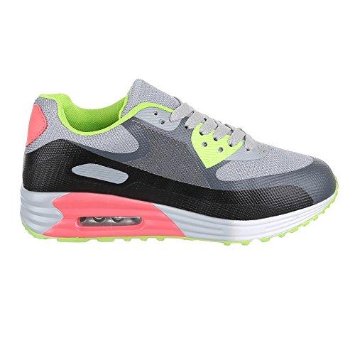 Damen Schuhe, 361-4, Freizeitschuhe SNEAKERS TURNSCHUHE Grau Grün