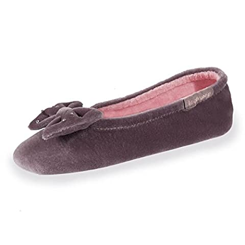 Chaussons ballerines fille grand nœud Isotoner - Taupe - Taille 31/32 EU