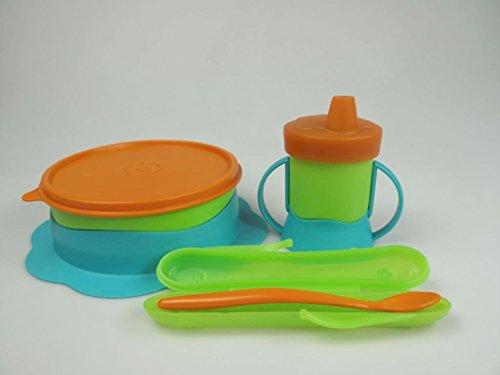 TUPPERWARE Kinder Teller 500ml+Soft- Futterlöffel+Trinkbecher 200ml TupperCare