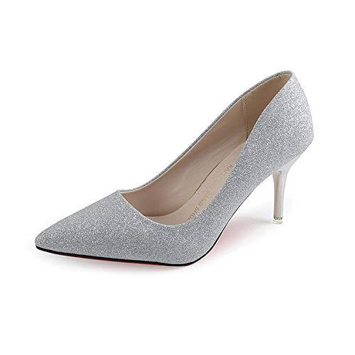 HRCxue Pumps Super hochhackige Spitze Schuhe sexy Stiletto Gold und Silber Pailletten Hochzeitsschuhe, Silber, 39