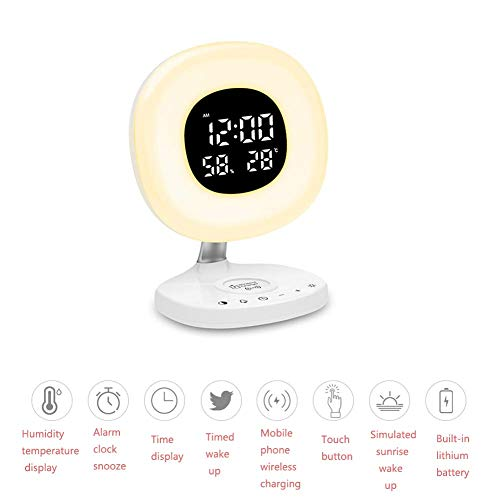 7 Color Atmosphere Wake Up Light Mobile Phone Wireless Charging Fm Radio Multi-Touch Snooze Funktion Light Smart Alarm Clock USB Analog Natural Sound Sunset Phototherapie Lamp Fading Fading - Reise-alarm-sound-maschine