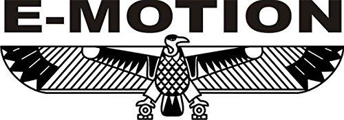 T-Shirt E1197 Schönes T-Shirt mit farbigem Brustaufdruck - Logo / Grafik / Design - abstrakter Adler mit Schriftzug E-MOTION Schwarz