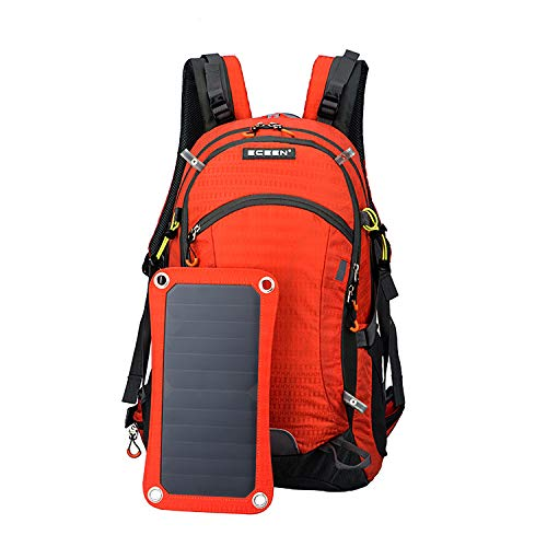 Solar Backpack-Waterproof Anti-Theft Solar Power Fast Charging Camping & Hiking Daypack mit 6,5W Solar Panel Charger für Smart Cell Phones und Tablets, GPS, Powerbank, Bluetooth Speakers ,Orange