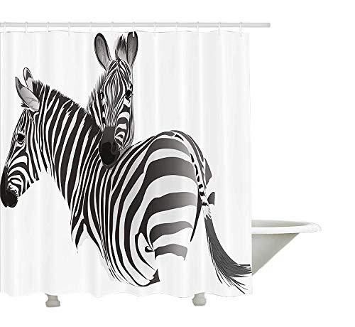 hang von, exotische afrikanische Tiere niedliche Paar Safari Thema Savanne Dschungel Fauna Camouflage, Stoff Badezimmer Dekor Set mit Haken, grauweiß ()