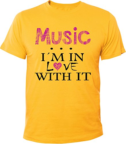 Mister Merchandise Herren Men T-Shirt Music - I´m in love Tee Shirt bedruckt Gelb