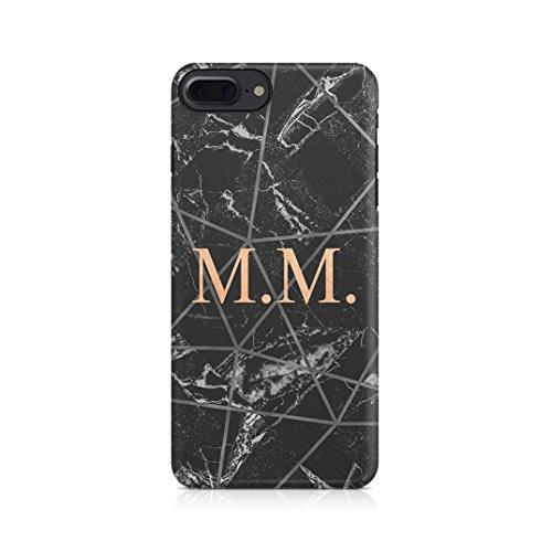 Personalised Customizable Letters Name Initials Custom Quote Black Geometric Marble Custodia Protettiva In Plastica Rigida Cover Per iPhone 5 / iPhone 5s / iPhone SE Case Black Geometric Name