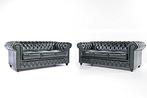 Original Chesterfield Sofas – 3 / 3 Sitzer – Vollständig Handgewaschenes Leder – Antik Grün