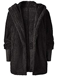 Baijaiye Mujeres Invierno Abrigo de Peludo Parka de Pelo Sintética Cálida Chaqueta con Capucha Fluffy Outwear