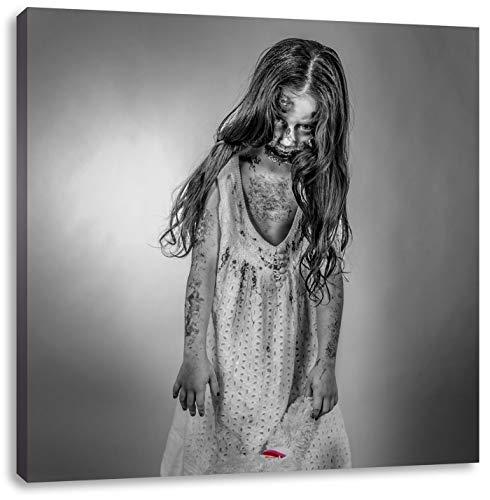 (gruseliges Mädchen mit Teddy schwarz/weiß, Format: 70x70 auf Leinwand, XXL riesige Bilder fertig gerahmt mit Keilrahmen, Kunstdruck auf Wandbild mit Rahmen, günstiger als Gemälde oder Ölbild, kein Poster oder Plakat)