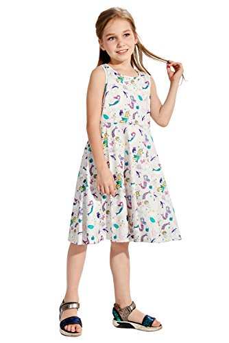 mädchen ärmellosen kleider mädchen meerjungfrau print swing - beach - party kleider für kinder (Mädchen Swing-kleid)