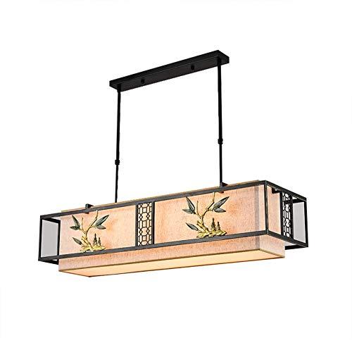 Oevina Mode Rechteck im chinesischen Stil Kronleuchter, LED 4 leuchtet E27 Moderne Stoff Kunst Pendelleuchte für Wohnzimmer Flur Schlafzimmer hängendes Licht (Farbe : C, größe : 100 * 30cm) - 4 Licht Kronleuchter Flur