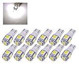 10PCS T10 LED Ampoules de Voiture Lampe 5 SMD W5W, MODOCA 5050 Lampes D'intérieur, Feu De Stationnement, Voiture Lampes De Lecture De Plaques, D'immatriculation Lumières 12V, Blanc