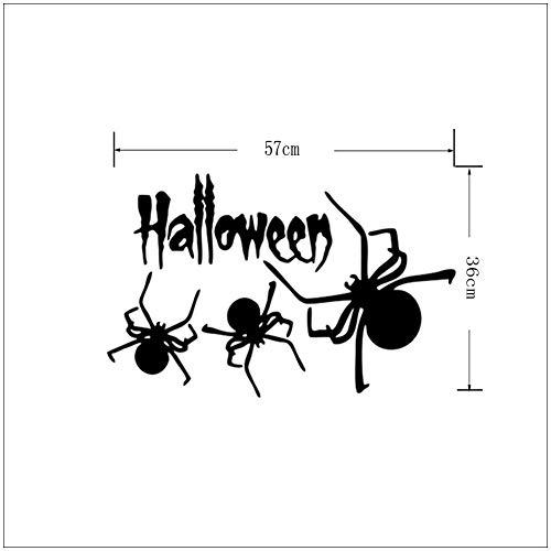 JXYY Halloween Spider Sticker Halloween Party Wandtattoo für Home School Office und Shopping Mall Fenster und Hintergrund 57x36cm