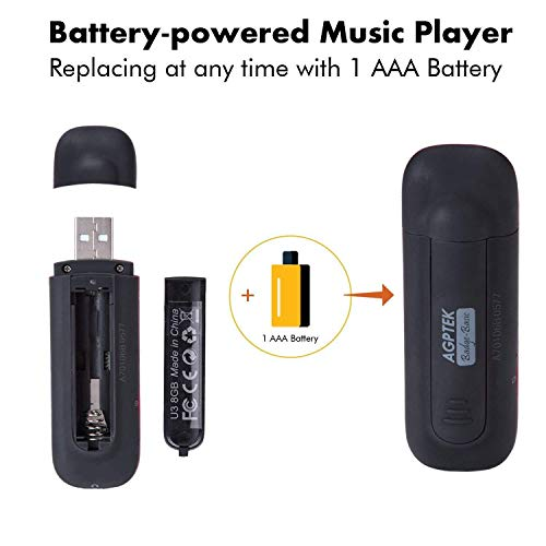 AGPTEK U3 USB Stick Mp3 Player, 8GB Music Player Supports Replaceable Battery, Recording, FM Radio, Expandable Up to 64GB, Black