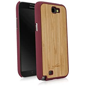 BoxWave True Bamboo Minimus Samsung Galaxy Note 2 Case, Genuine Bamboo Wood Backing Shell Case Cover with Durable Plastic Edges with Smooth Matte Finish (Maroon)