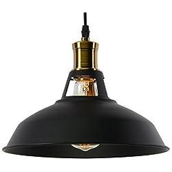 Lightess Lámpara de Techo Industrial E27 Led Lámpara Vintage Lámpara Industrial Lámpara Colgante Retro Lámpara de Comendor, Adecuado para Restaurante, Bar, Cafetería, etc, Color Negro