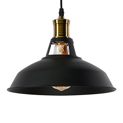 Industrial Vintage Pendant Light Shade Retro Ceiling Light Lighting Restaurant Loft Coffee Bar Kitchen Hanging Pendant Lights Lamp E27 Base Black (Bulb not Include)