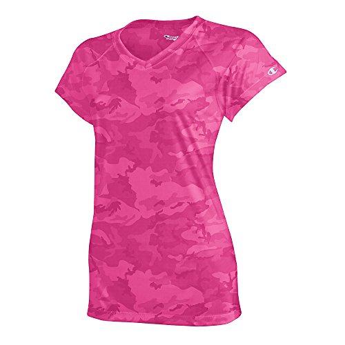 Damen Essential Double Dry V-Neck Tee_Wow Pink Camo_Small (Camo V-neck Tee)