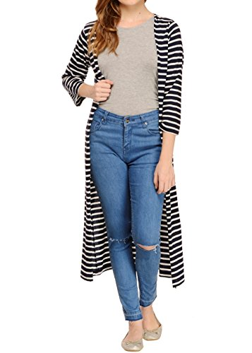 Rigo White & Navy Striped Maxi Shrug