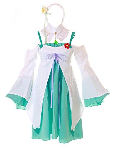 Kawaii-Story MN-37 Emilia RE: ZERO kara Hajimeru Isekai Seikatsu weiß grün Freizeit Kleid 5-tlg. Set Cosplay Kostüm (L)