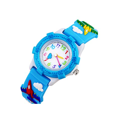 Orologio Bambini per ragazze di Vinmori, 3D orologio tempo insegnante Toddler Cartoon, Cartoon Fighter modello Silicone impermeabile orologio al quarzo, miglior regalo per i bambini (Baby blue)