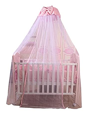 Icegrey Betthimmel Bogen Baldachin Kinder Himmelbett Insektenschutz Mückennetz für Kinderbetten Mit Klemme Himmelstange Schleierhalter Rosa